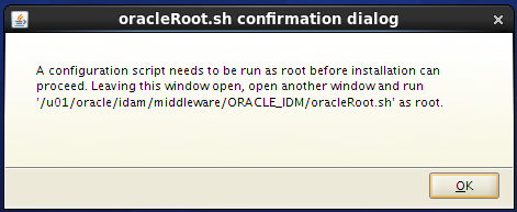 install Oracle Identity Management for OID - run oracleRoot.sh