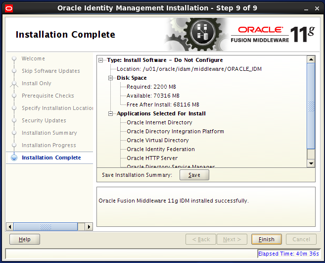 install Oracle Identity Management for OID: complete