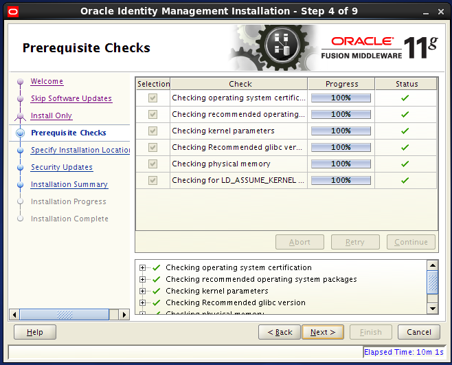 install Oracle Identity Management for OID - prerequisite checks