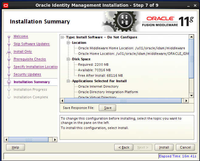 install Oracle Identity Management for OID - summary
