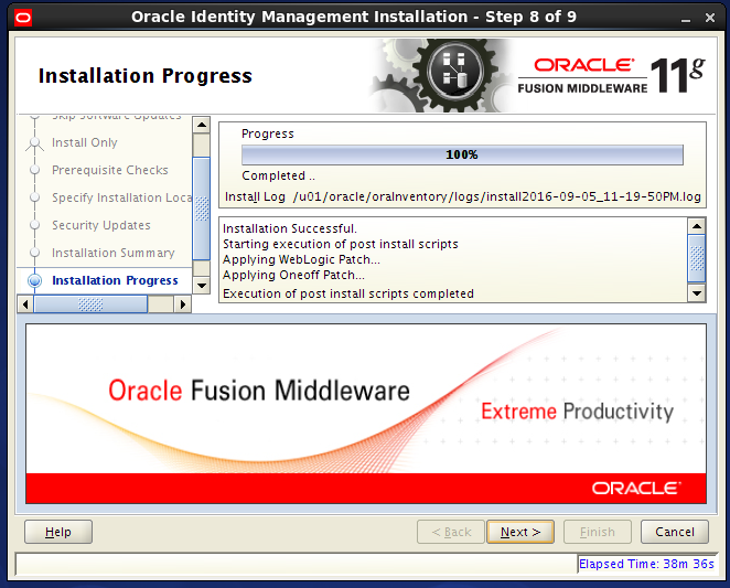 install Oracle Identity Management for OID - progress