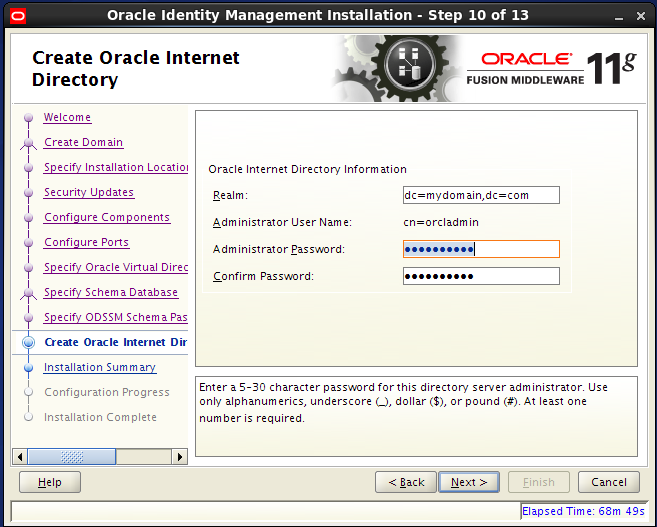 Configure Oracle Internet Directory (OID): create oid
