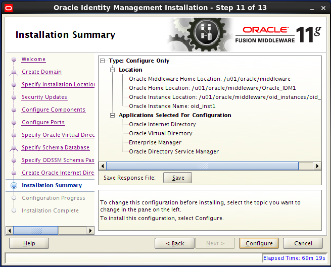 Configure Oracle Internet Directory (OID): installation summary
