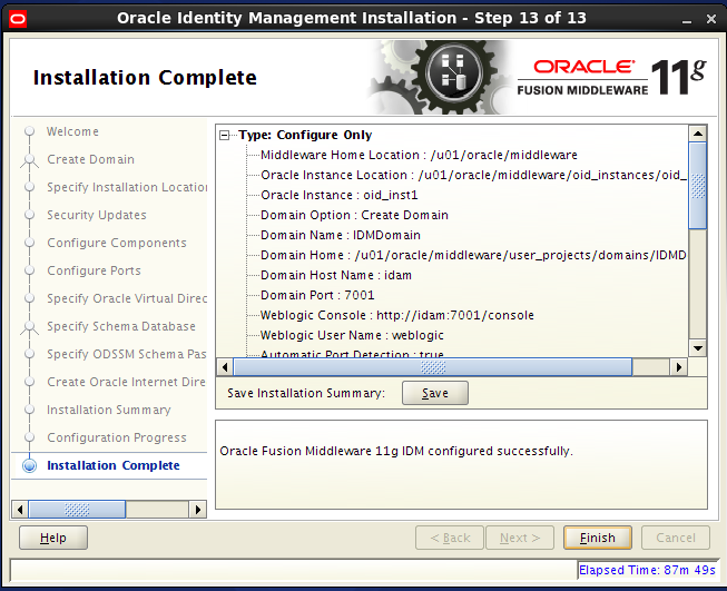 Configure Oracle Internet Directory (OID): completed