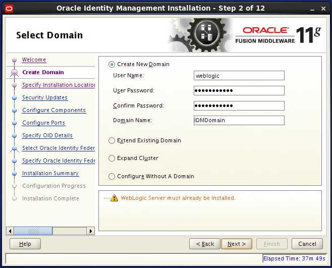 Configure Oracle Internet Directory (OID): create domain