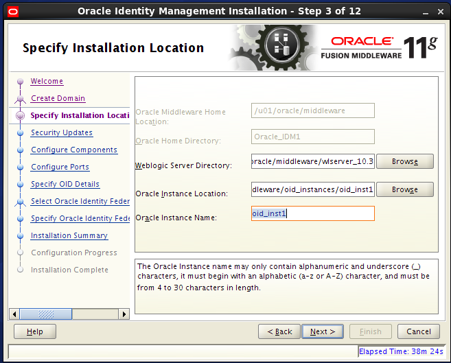 Configure Oracle Internet Directory (OID): installation location