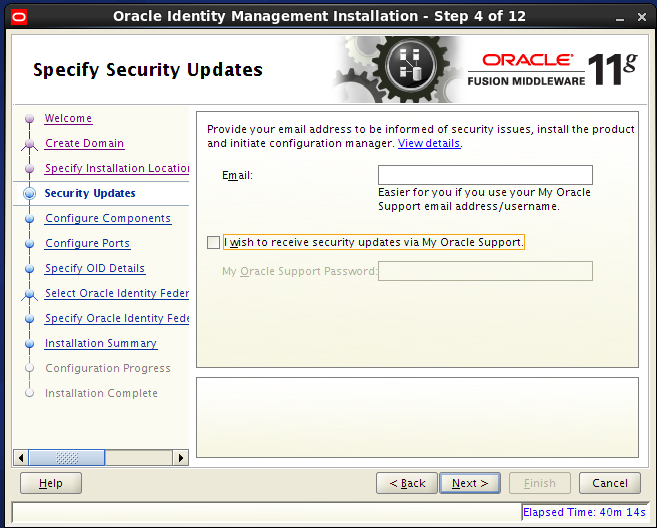 Configure Oracle Internet Directory (OID): security updates