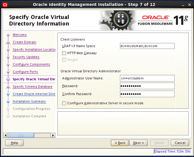 Configure Oracle Internet Directory (OID): virtual directory information