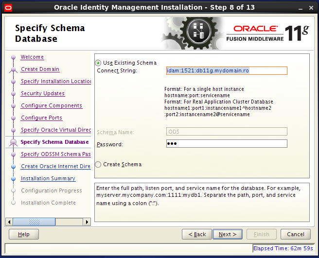Configure Oracle Internet Directory (OID): database schema