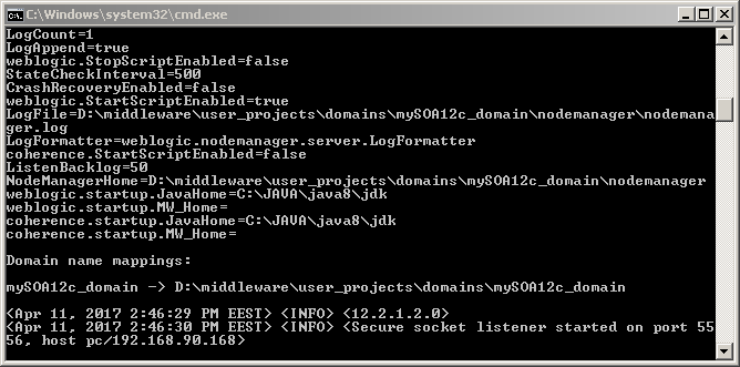 How to start Oracle SOA 12c on Windows: node manager started