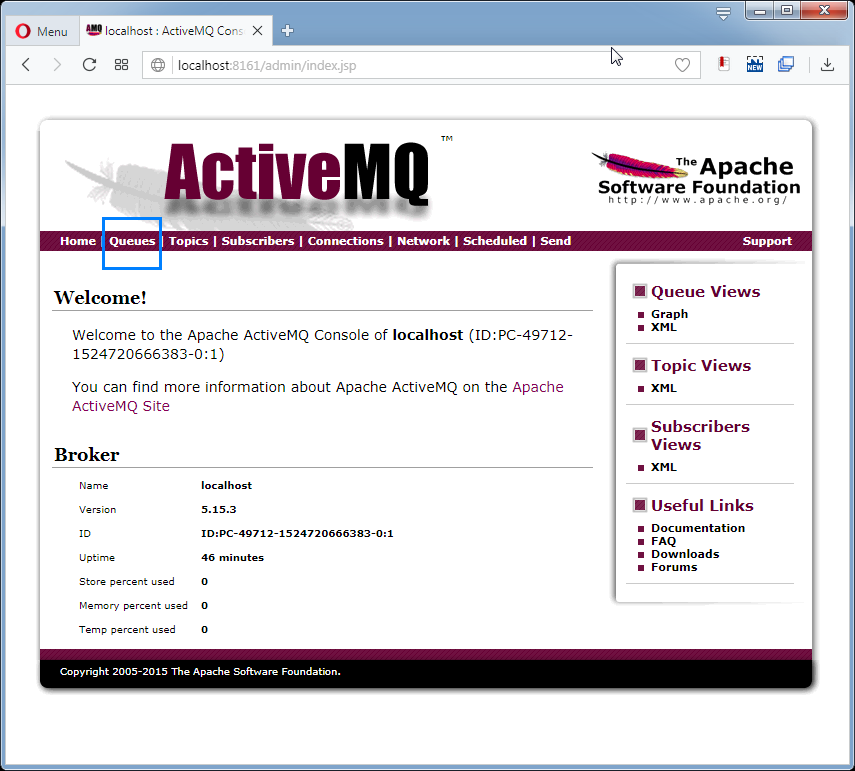 Send messages to ActiveMQ Queue: the admin console