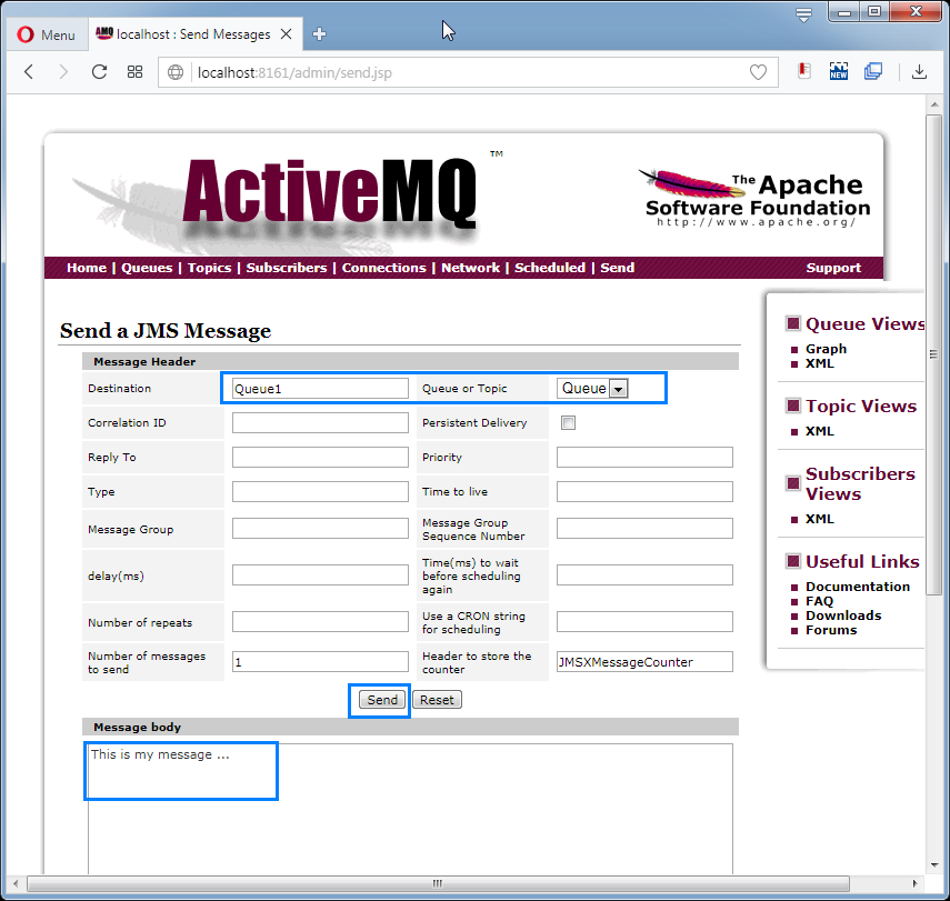 Send messages to ActiveMQ Queue: the message page