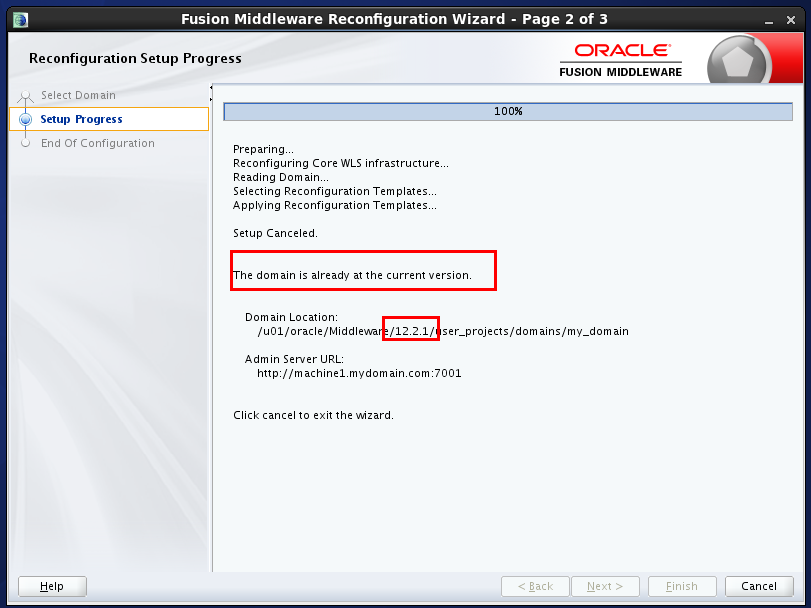 reconfigure weblogic domain : reconfiguration not needed
