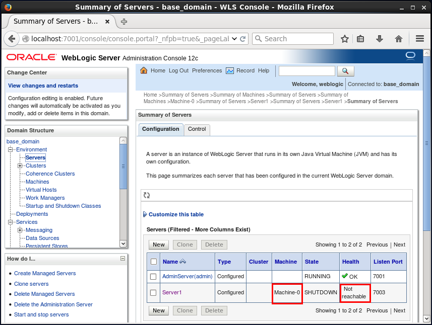 Associate a WebLogic Server with a machine: Check the association