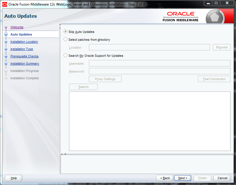 Weblogic 12.2.1 installation on Windows - auto updates