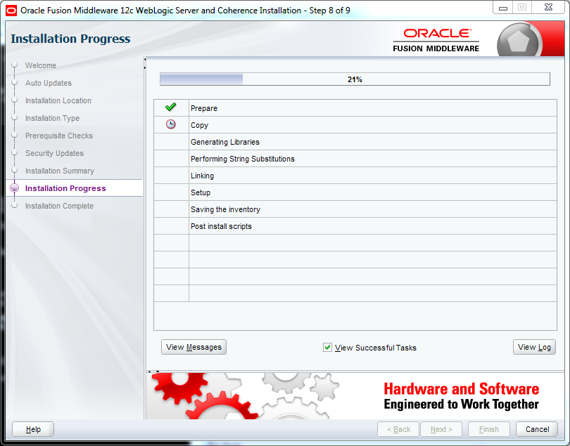 Weblogic 12.2.1 installation on Windows - progress