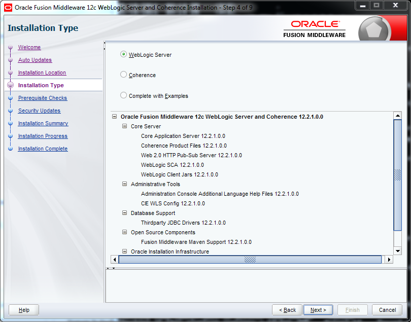 Weblogic 12.2.1 installation on Windows - installation type