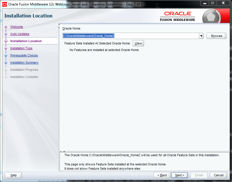 Weblogic 12.2.1 installation on Windows - oracle home