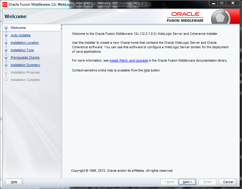 Weblogic 12.2.1 installation on Windows - welcome