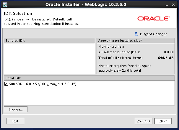 Weblogic 10.3.6 installation on linux -  jdk selection