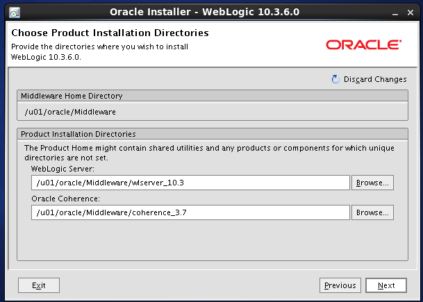 Weblogic 10.3.6 installation on linux - weblogic home