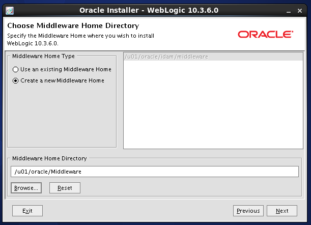 Weblogic 10.3.6 installation on linux -  middleware home