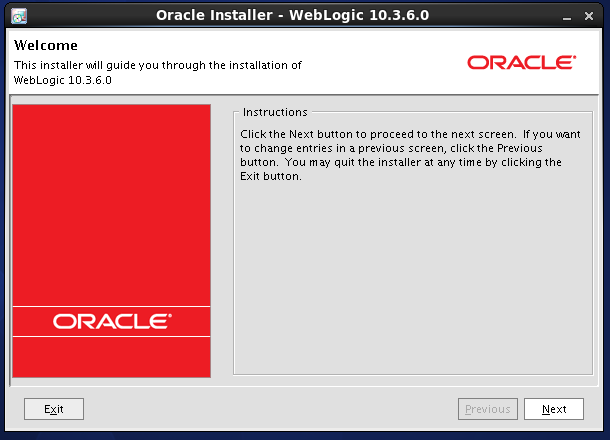 Weblogic 10.3.6 installation on linux -  welcome