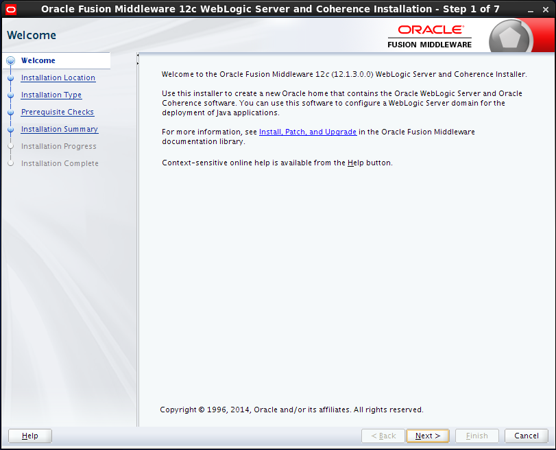 weblogic 12.1.3 installation on Linux : welcome