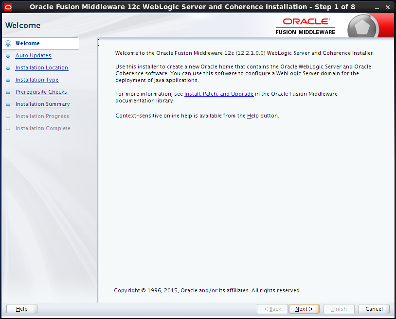 WebLogic 1221 installation on Linux - welcome