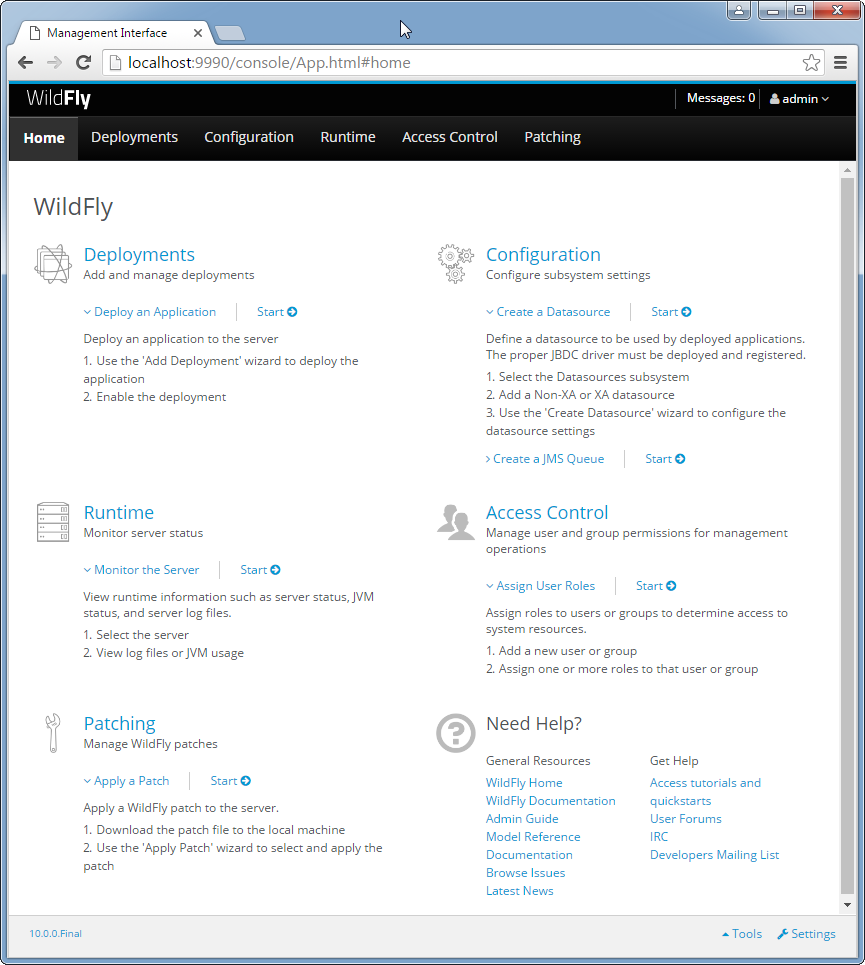 Create WildFly Topic : Connect to the Admin Console