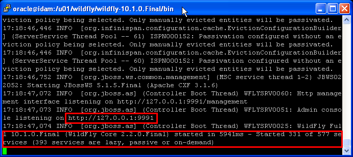 start standalone WildFly 10.1 on Linux : started