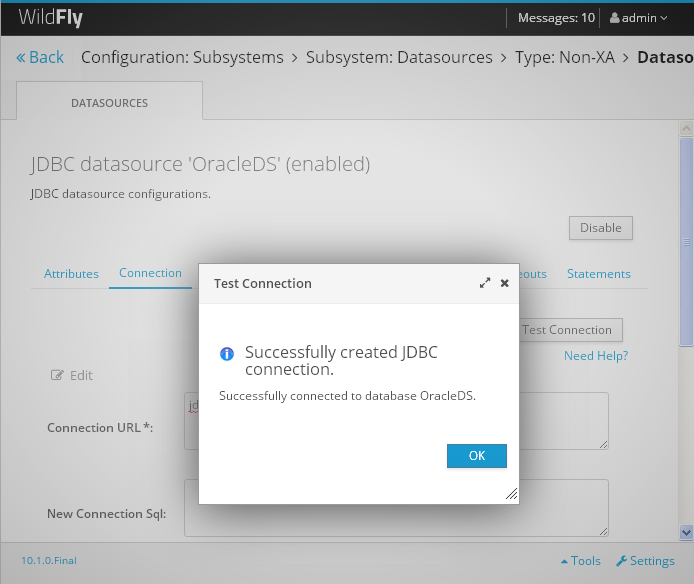 Create a Datasource on WildFly 10 Server for Oracle Database 11gR2 : tested